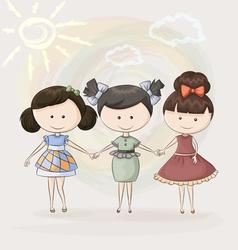 three girlfriends vector image vector image