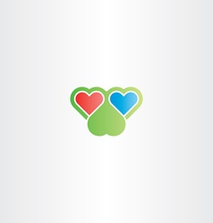two hearts logo love sign vector image