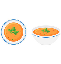 vegetable soup in bowls vector image vector image