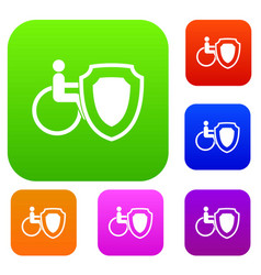 wheelchair and safety shield set collection vector image vector image
