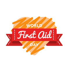 World first aid day greeting emblem vector