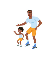 young afro-american father with son rollerskating vector image