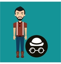 young hipster man hat and glasses retro vector image vector image