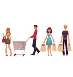 Young men and women with shopping bags cart vector