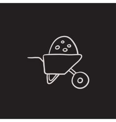 Wheelbarrow full of sand sketch icon vector image