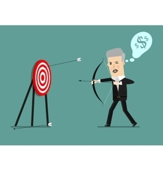 Cartoon businessman with bow and many targets vector
