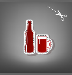 Beer bottle sign  red icon with for vector