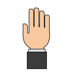 Colorful caricature image front view hand with vector