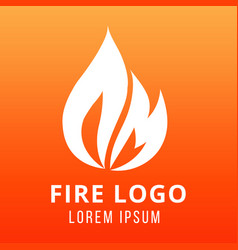 flame of fire logo design on fire color background vector image