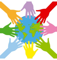 Hands around the globe vector