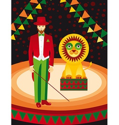 Lion and trainer in the circus art vector