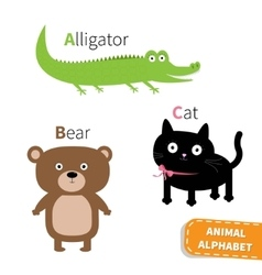 Letter a b c alligator cat bear zoo alphabet vector