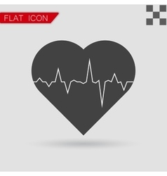 Electrocardiogram icon flat style with red vector
