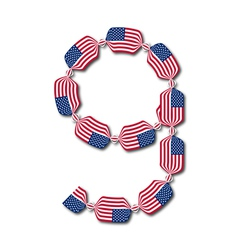 Number 9 made of usa flags in form of candies vector
