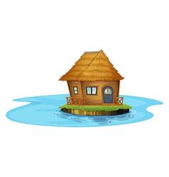 An island with a small house vector