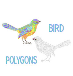 Bird rainbow polygons coloured and outline vector