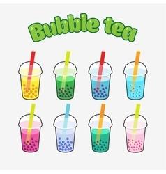 Bubble tea set vector