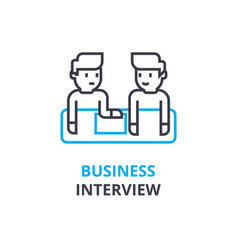 business interview concept outline icon linear vector image