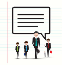 Business men or teachers with speech bubble on vector