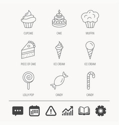 cake candy and muffin icons cupcake sign vector image vector image