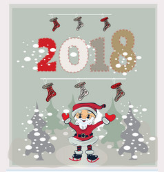 christmas card with santa claus and present in vector image