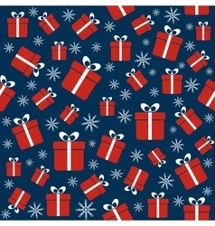 Christmas seamless pattern with gifts snowflakes vector