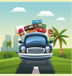 Couple car baggage travel vacation road landscape vector