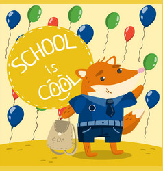 cute little fox in school uniform standing on the vector image