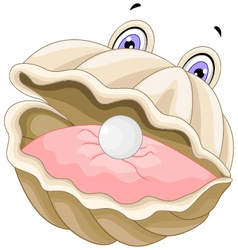 cute oyster with a pearl cartoon vector image