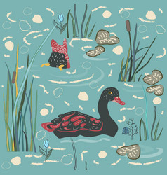 duck bird seamless pattern ducks on the lake vector image