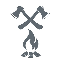 Firewood ax and campfire icon vector