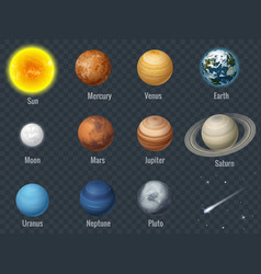 flat isometric isolated set of planets in the vector image vector image