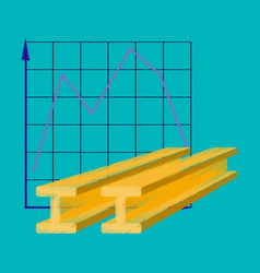 flat shading style icon falling graph vector image