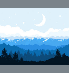 Foggy forest at the foot of mountains - rocks vector