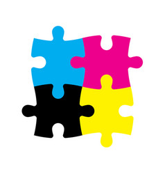 Four jigsaw puzzle pieces in cmyk colors printer vector