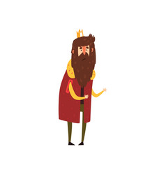Funny bearded king character cartoon vector