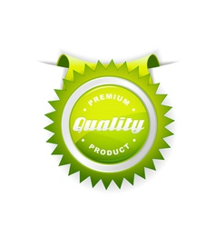 green label quality sign vector image