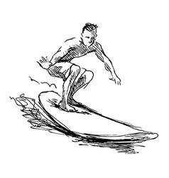 Hand sketch Surfer vector image