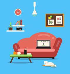 Home office or freelancer interior with sofa and vector