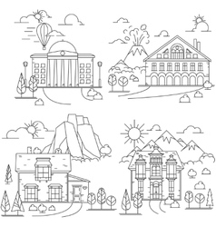 House line icon landscapes vector