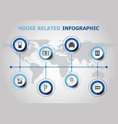 Infographic design with house related icons vector