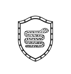 Monochrome silhouette with shield with snake virus vector