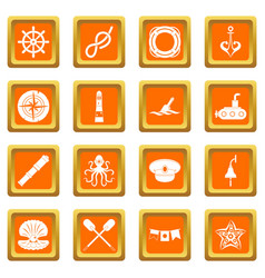 Nautical icons set orange vector