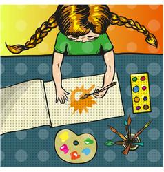 Pop art of girl painting sun vector