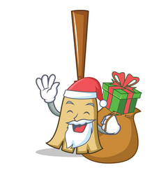 Santa with gift broom character cartoon style vector