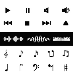Sound control music notes sound waves icon vector