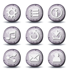 Stone and rock icons for ui game vector