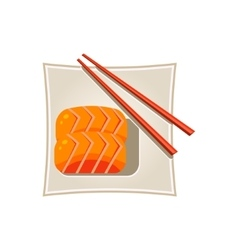 Sushi with salmon and sticks served food vector