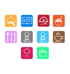 Thin line chef icon set vector