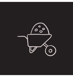Wheelbarrow full of sand sketch icon vector image vector image